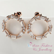 18K Rose Gold Plated Simulated Crystal Sparkling Round Stud Earrings Jewellery