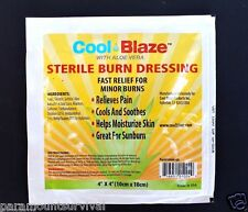 Cool Blaze 4 x 4 Sterile Burn Dressing With Aloe Vera First Aid New