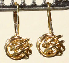Vintage Classic Preppy 14k Gold 8MM Knot Ball Design Lever Back Earrings