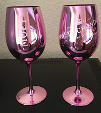 MOET CHANDON ROSE PINK GLASS GOBLETS CHAMPAGNE GLASS FLUTES X 2  NEW DESIGN