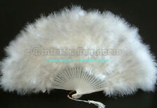 28 Leaves White marabou Feather Fan fans, A+ Quality