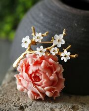 Hand Crafted Coral Peony Flower Pendant & Brooch, Mother of Pearl Flowers
