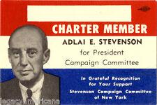 1956 Adlai Stevenson for President Committee Charter Member Card (5027)