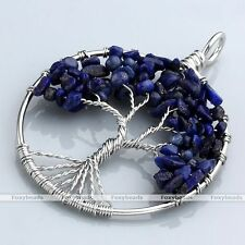 1x Lapis Lazuli Tree Of Life Gems Chip Beads Healing Chakra Pendant fit Necklace