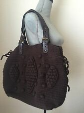 The Sak Large Brown Crochet Tote Bag Purse with Buckles Perfect for Fall!