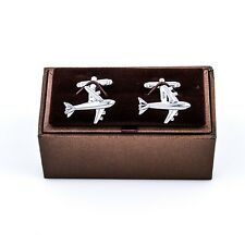 Plane Cufflinks Commercial Jet Pilot Wedding Fancy Gift Box Free Ship USA