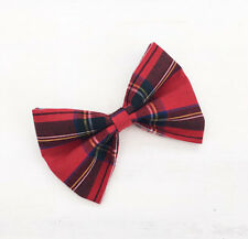 "Red tartan plaid hair bow 4"" Rockabilly Pin up"