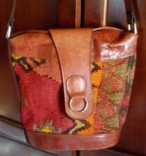 Vintage Wool Kilim SOUTHWEST Leather Trim Boho Hobo Bag Purse Shoulder Crossbody
