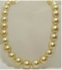18 INCHES AAA 10-11mm south sea golden pearls necklace 14K