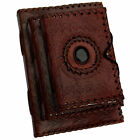 Vintage Leather Embossed Sketchbook Diary Journal with Handmade Paper & Stone