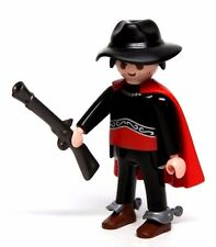 Playmobil Figure Custom Western Bank Robber Outlaw Cowboy Hat Cape Spurs Rifle