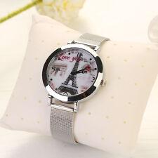 Women's Classic Eiffel Tower Stainless Steel Quartz Analog Bracelet Wrist Watch