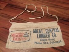 Vintage Great Central Lumber CO Palmyra Moore Paints Carpenter Nail Cloth Apron