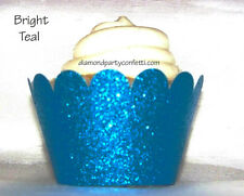 12 Teal Blue Glitter Cupcake Wrapper  Diamond Wedding Party Decoration Favor