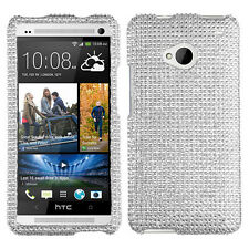 For HTC ONE / M7 Crystal Diamond BLING Hard Case Phone Cover Silver accessory