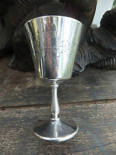 Antique Silver Plate Goblet Drinking Wine Wedding Gift Flower Engraved Made ENG