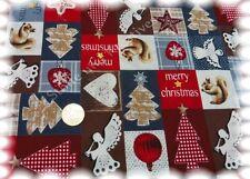 Engelspatch Weihnachtsstoff braun rot Baumwolle 50 cm Weihnachten