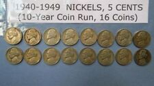 1940-49  Lot of 16  U.S. JEFFERSON NICKELS, PDS Mints, Sequential 10-Year Order