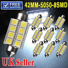 10x 42mm 8SMD Festoon Super White LED Interior Number Plate Light Bulb 211-2 578