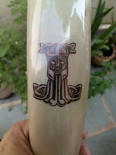 Viking Drinking Horn Mug cup THOR LOGO Hand Painted Celtic Beer Wine Mead Pagan