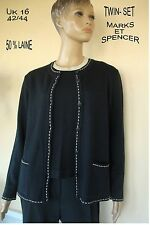 GILET TWIN-SET COUTURE NOIR  * MARKS & SPENCER  * 50 % LAINE UK 16 T 42/44 NEUF