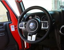 3PCS Interior Sliver Steering Wheel Cover Trim Set for Jeep Wrangler JK CJ 07-17