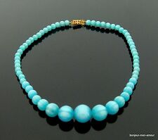 Turquesas Lucite Moonglow plástico collar Collier Turquoise Necklace collana