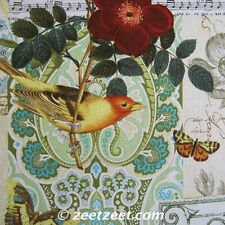 ANJOU POUR Vous Birds Flowers Butterfly Yellow Fabric by the Yard Michael Miller