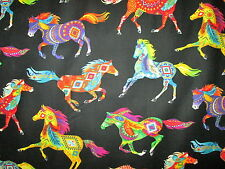 NATIVE AMERICAN HORSE TOTEM SPIRIT ANIMALS BRIGHT COTTON FABRIC BTHY