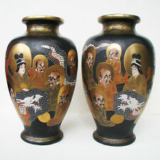 Pair of Japanese Satsuma Vases Black Matte 1000 Faces Immortals Meiji Period