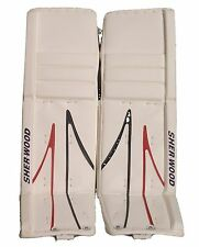 New Sherwood T95 senior goal ice hockey goalie leg pads white/blue/red Sr. 35+1""