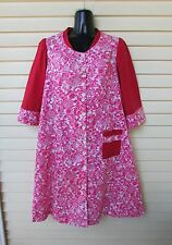 Vtg 50s Floral Cafton Duster Lounge Hostess A-Line Tent House Day Dress 36 S/M