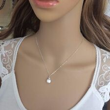 FRESHWATER PEARL COIN NECKLACE DROP DESIGNER STERLING SILVER WEDDING JEWELRY