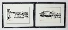 Pair Pen & Ink Watercolor Paintings Malaysian Fishing Village Scene by L. L. Wee