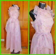 Vtg 70s Organza Floral Ruffle Backless Boho Hippie Wedding Party MAXI DRESS GOWN