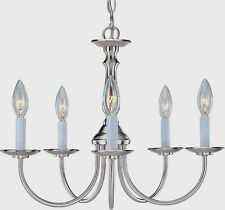 5-Light 1 Tier Ceiling Candle Chandelier Lighting Fixture Brushed Nickel Finish