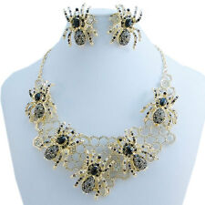 Halloween Insect 5 Spider Necklace Earrings Set Black Rhinestone Crystal Gold GP