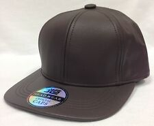 Brown Leather Adjustable Hat Baseball Cap Velcro Strapback Chocolate Made in USA