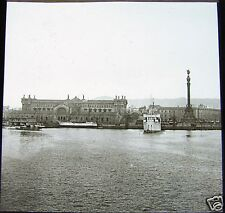 ROSCH Glass Magic lantern slide BARCELONA HARBOUR C1900 SPAIN CATALUNYA