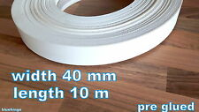 MELAMINE PRE GLUED IRON ON EDGING TAPE&EDGE BANDING 40 MM 10 M LONG WHITE