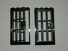 LEGO barred door gate 1x4x6 black dark grey x2 castle prison dungeon jail bars +