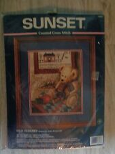 """SUNSET counted cross stitch NEW Old Teddies 1998 Dimensions 14"""" x 16"""" USA"""