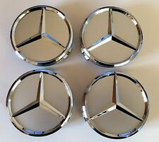 4 x Mercedes Benz Wheel Center Hub Caps Silver/Chrome 75mm A B C CLA CLS
