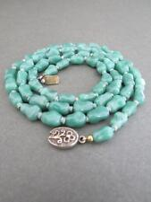 Vintage Chinese Aventurine Long Bead Necklace Silver Filigree Clasp