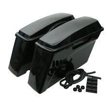 Vivid Black Pair Hard Saddlebags Trunk For Harley Sportster Dyna Touring Glide