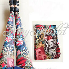 Pretty Sexy Lycra Women Leopard Flag Comics Print Leggings  Pants BG