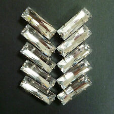 10 X ACRILICO Sew-on facetted STRASS. BAGUETTES / rettangoli-Crystal 24x8 mm.