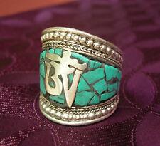 Wunderschöner Silber Herren- RING aus TIBET mit Türkis und Om 19-21mm Innenmaß