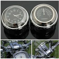 7/8'' 1'' Motorcycle Handlebar Mount Dial Clock & Thermometer Temp For Harley