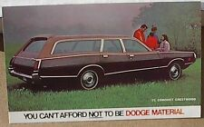 1971 71 DODGE CORONET CRESTWOOD  WAGON MOPAR DEALER  DEALERSHIP POSTCARD PROMO
